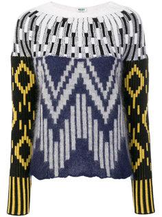 трикотажный свитер с миксом графических принтов Kenzo