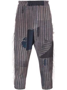 укороченные брюки в полоску By Walid