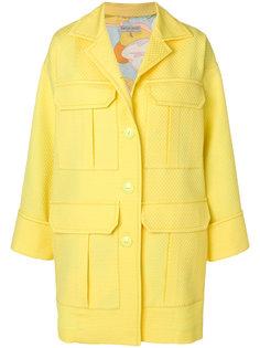 фактурное пальто с накладными карманами Emilio Pucci