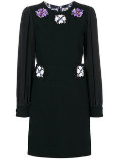 короткое платье с длинными рукавами с украшением из бусин Emilio Pucci