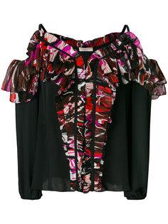 блузка с открытыми плечами с рюшами Emilio Pucci