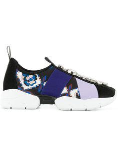 кроссовки с принтом и украшением из камней Emilio Pucci