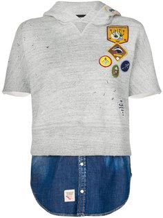 худи с короткими рукавами с заплатками и эффектом джинсового слоя Dsquared2