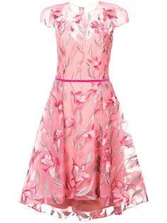 расклешенное платье с цветочной вышивкой Marchesa Notte