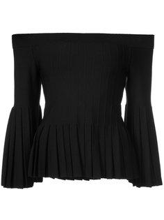 плиссированная блузка с открытыми плечами  Jonathan Simkhai