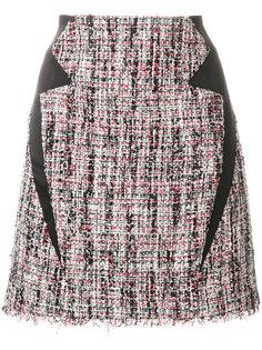 твидовая юбка с атласной отделкой Karl Lagerfeld