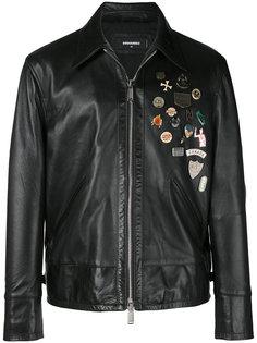 декорированная кожаная куртка Dsquared2