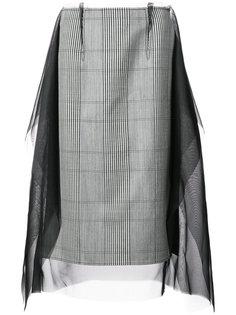 клетчатая юбка с прозрачными панелями Maison Margiela