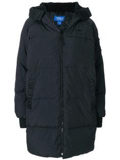 пуховое пальто с капюшоном Adidas