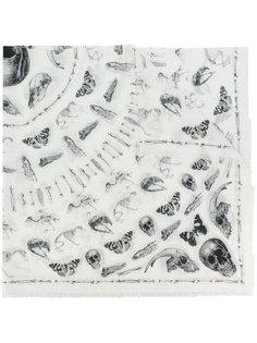 шарф с принтом черепов и мотыльков Alexander McQueen