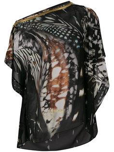 блузка на одно плечо с принтом Roberto Cavalli