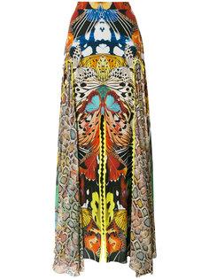удлиненное платье с принтом бабочек Roberto Cavalli
