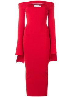 длинное платье с приспущенными плечами Solace London