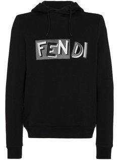 embroidered logo hoodie Fendi