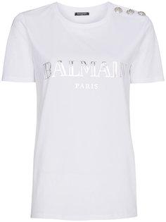 футболка с логотипом и пуговицами на плече Balmain