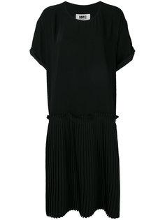 плиссированное платье-шифт свободного кроя Mm6 Maison Margiela