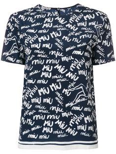 топ с принтом логотипа Miu Miu