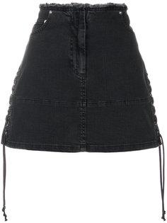джинсовая мини-юбка со шнуровкой McQ Alexander McQueen