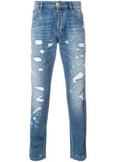 прямые джинсы с рваным эффектом Philipp Plein