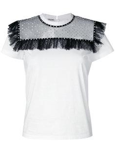 футболка с пайетками и рюшами Miu Miu
