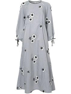 полосатое платье с цветочной вышивкой Huishan Zhang