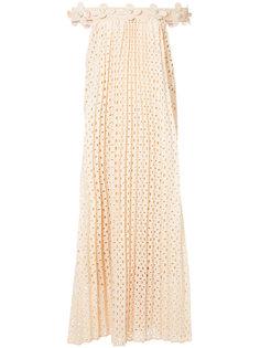 плиссированное платье с цветочным декором Huishan Zhang