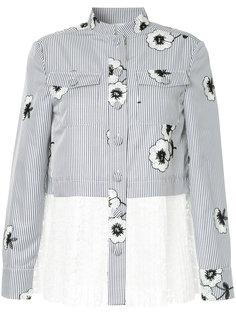 полосатая рубашка с цветочной вышивкой Huishan Zhang