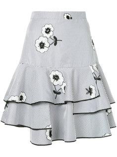 полосатая пышная юбка с цветочной вышивкой Huishan Zhang