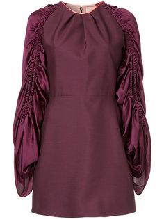 платье-мини со сборками на рукавах Roksanda