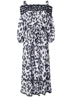 платье-макси с открытыми плечами и леопардовым принтом Boutique Moschino