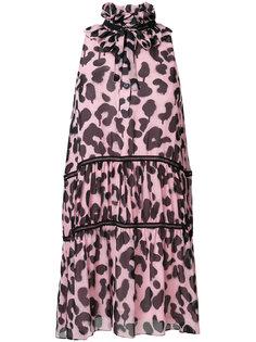 многоуровневое платье с петлей-вырезом халтер и леопардовым принтом Boutique Moschino