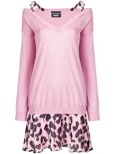 многослойное платье-свитер с леопардовым принтом Boutique Moschino