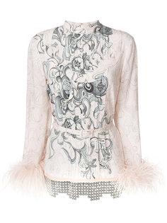 блузка с цветочным принтом Prada