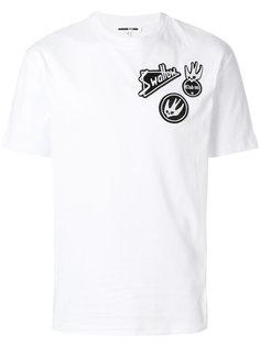 футболка с вышивкой и приспущенными плечами McQ Alexander McQueen