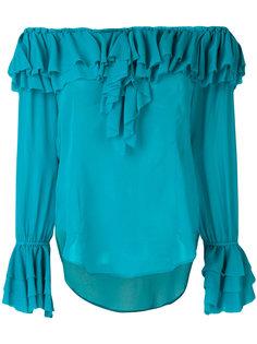 блузка с приспущенными плечами и оборками Twin-Set