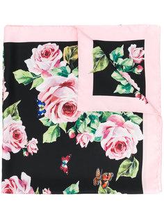 шейный платок с принтом роз Dolce & Gabbana