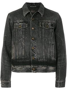 укороченная джинсовая куртка с эффектом потертости Saint Laurent