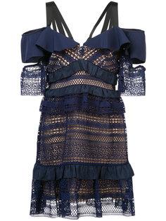 расклешенное прозрачное платье с вышивкой Self-Portrait