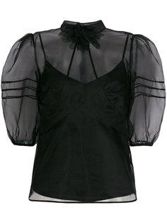 прозрачная блузка с буффами на рукавах Red Valentino
