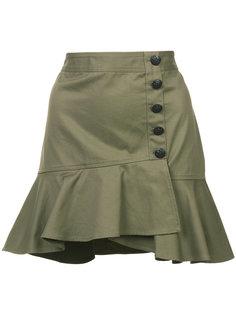 юбка на пуговицах с оборкой  Veronica Beard