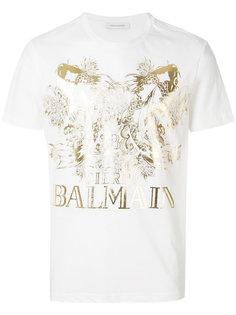 футболка с логотипом и принтом рыб Pierre Balmain