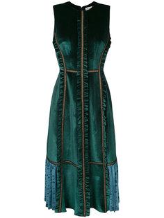 бархатное платье с оборками Self-Portrait