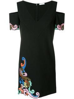 платье с вышивкой и открытыми плечами Versace Collection