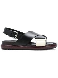 сандалии Fussbett с перекрещивающимися лямками Marni