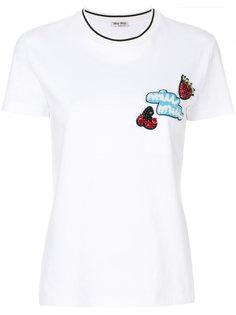 декорированная футболка с логотипом Miu Miu