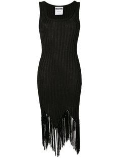 платье в рубчик с бахромой Moschino