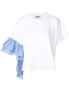 асимметричная футболка с оборками на рукавах  MSGM