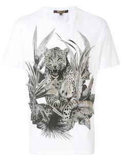 футболка с тигром и кристаллами Roberto Cavalli