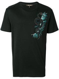 футболка с декорированной змеей Roberto Cavalli