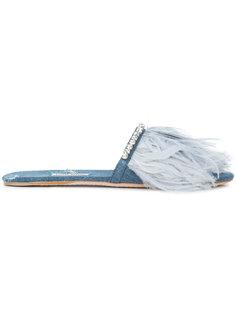 джинсовые сандалии с отделкой перьями  Miu Miu